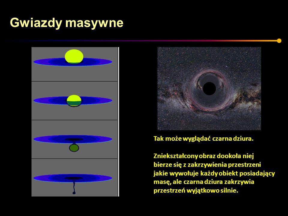 Gwiazdy masywne Tak może wyglądać czarna dziura. Zniekształcony obraz dookoła niej bierze się z zakrzywienia przestrzeni jakie wywołuje każdy obiekt p