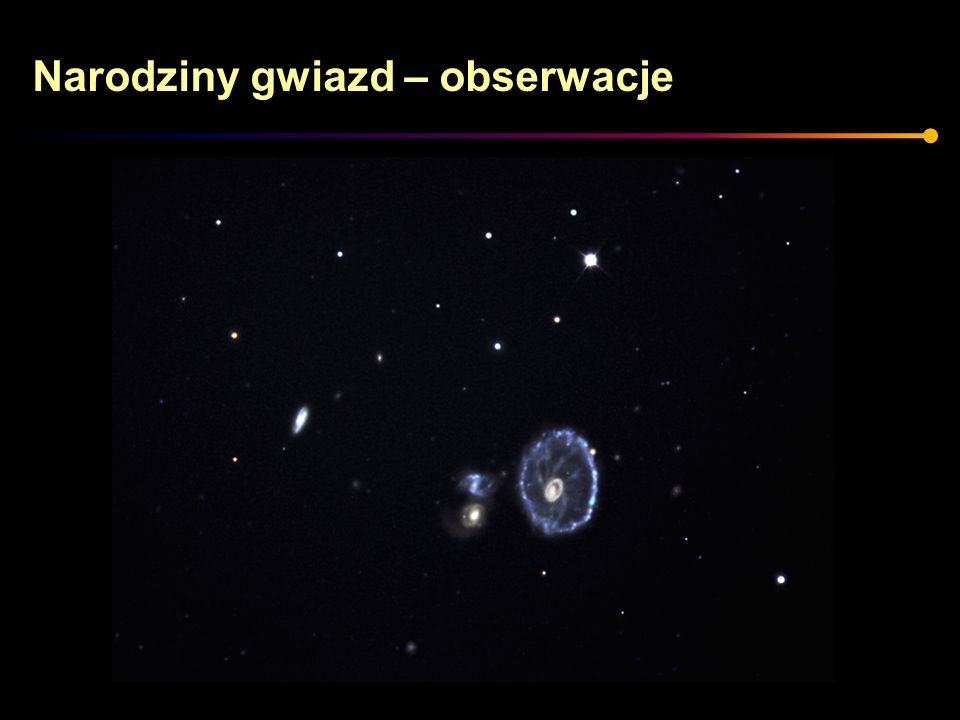 Gwiazdy o małej masie Gwiazdy o masie: 0,4 M < M < 1.5 M Typowym przykładem jest nasze Słońce Życie takich gwiazd jest nieco ciekawsze.