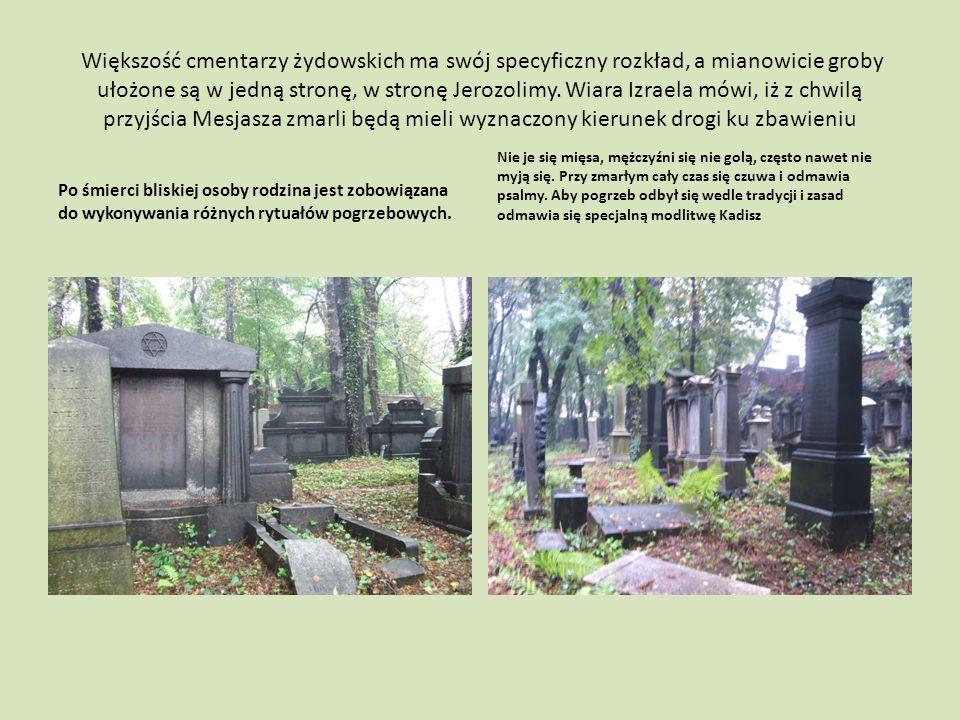 Większość cmentarzy żydowskich ma swój specyficzny rozkład, a mianowicie groby ułożone są w jedną stronę, w stronę Jerozolimy.
