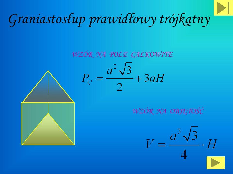 Prostopadłościan : P c = 2 a·b+ 2 a·c+ 2 b·c V = a·b·c P p = a·b Wzór na pole podstawy: Wzór na pole powierzchni całkowitej Wzór na objętość: