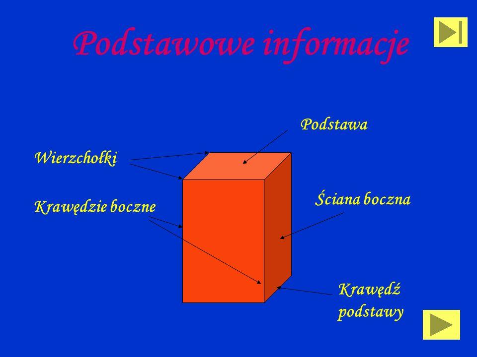 Definicje Graniastosłup to wielościan, którego wszystkie wierzchołki leżą na dwóch różnych płaszczyznach równoległych, a krawędzie niezawarte w tych p