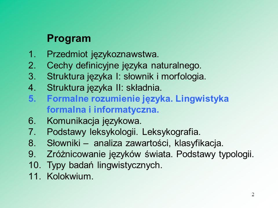 2 Program 1.Przedmiot językoznawstwa. 2.Cechy definicyjne języka naturalnego. 3.Struktura języka I: słownik i morfologia. 4.Struktura języka II: skład