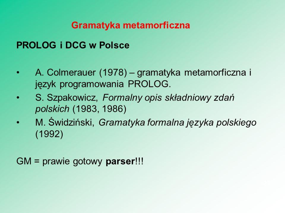 PROLOG i DCG w Polsce A. Colmerauer (1978) – gramatyka metamorficzna i język programowania PROLOG. S. Szpakowicz, Formalny opis składniowy zdań polski