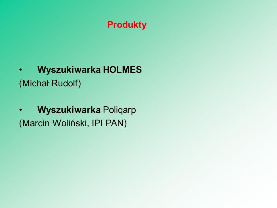 Wyszukiwarka HOLMES (Michał Rudolf) Wyszukiwarka Poliqarp (Marcin Woliński, IPI PAN) 43 Produkty