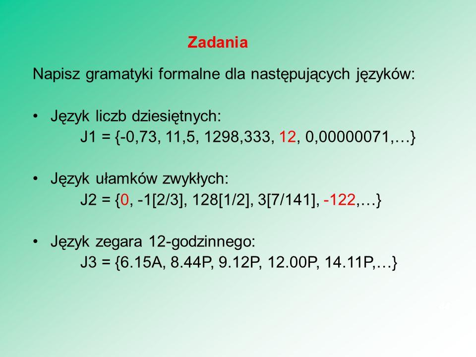 Napisz gramatyki formalne dla następujących języków: Język liczb dziesiętnych: J1 = {-0,73, 11,5, 1298,333, 12, 0,00000071,…} Język ułamków zwykłych: