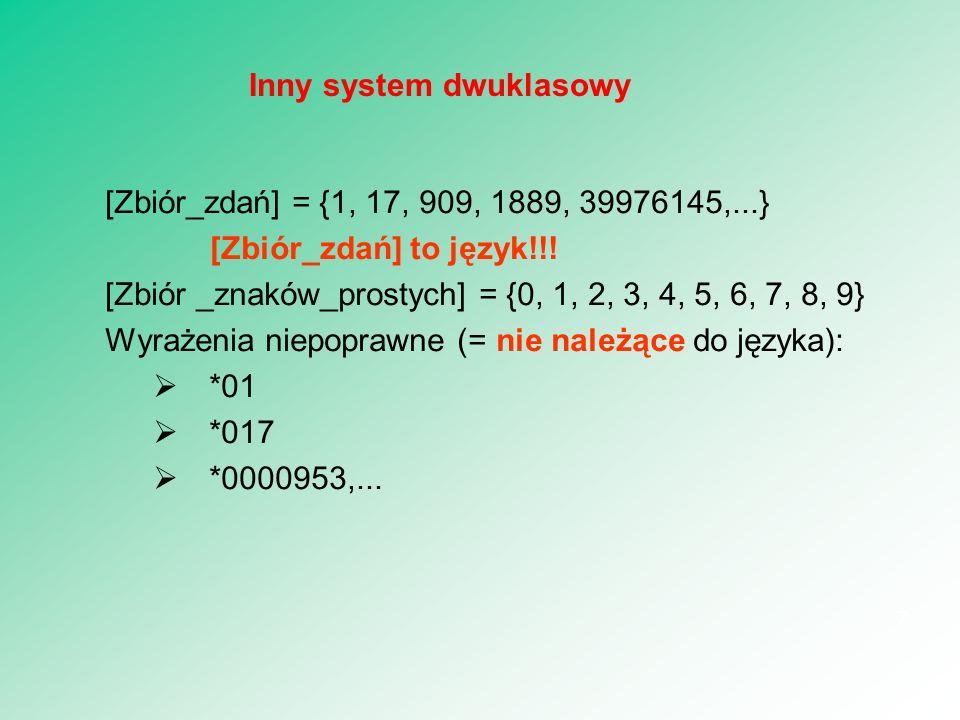 Gramatyka formalna = instrukcja: a.Napisz dowolną cyfrę.