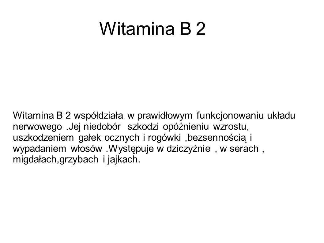 Witamina B 2 Witamina B 2 współdziała w prawidłowym funkcjonowaniu układu nerwowego.Jej niedobór szkodzi opóźnieniu wzrostu, uszkodzeniem gałek ocznyc