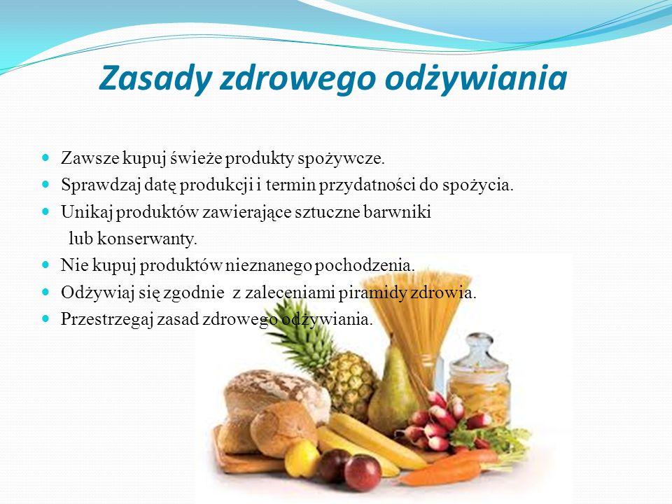 Zasady zdrowego odżywiania Zawsze kupuj świeże produkty spożywcze. Sprawdzaj datę produkcji i termin przydatności do spożycia. Unikaj produktów zawier