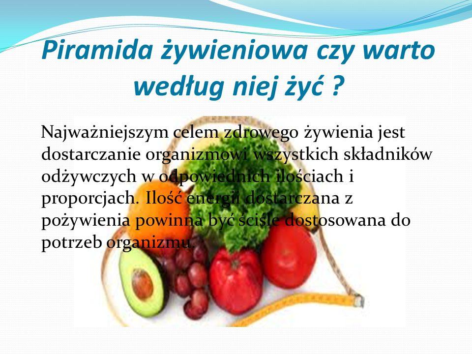 Piramida żywieniowa czy warto według niej żyć ? Najważniejszym celem zdrowego żywienia jest dostarczanie organizmowi wszystkich składników odżywczych