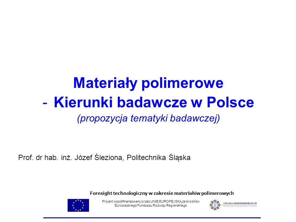 Materiały polimerowe -Kierunki badawcze w Polsce (propozycja tematyki badawczej) Prof. dr hab. inż. Józef Śleziona, Politechnika Śląska Projekt współf