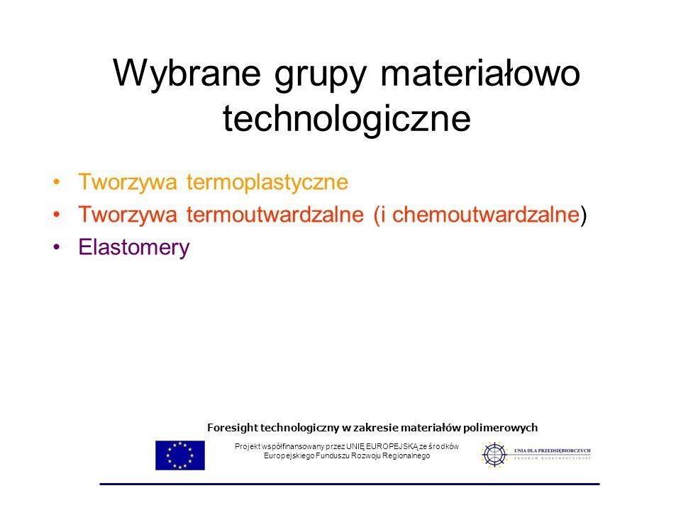Wybrane grupy materiałowo technologiczne Tworzywa termoplastyczne Tworzywa termoutwardzalne (i chemoutwardzalne) Elastomery Projekt współfinansowany p
