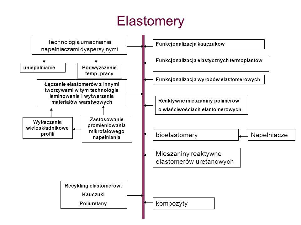 Elastomery Funkcjonalizacja kauczuków Technologia umacniania napełniaczami dyspersyjnymi Funkcjonalizacja elastycznych termoplastów Funkcjonalizacja w