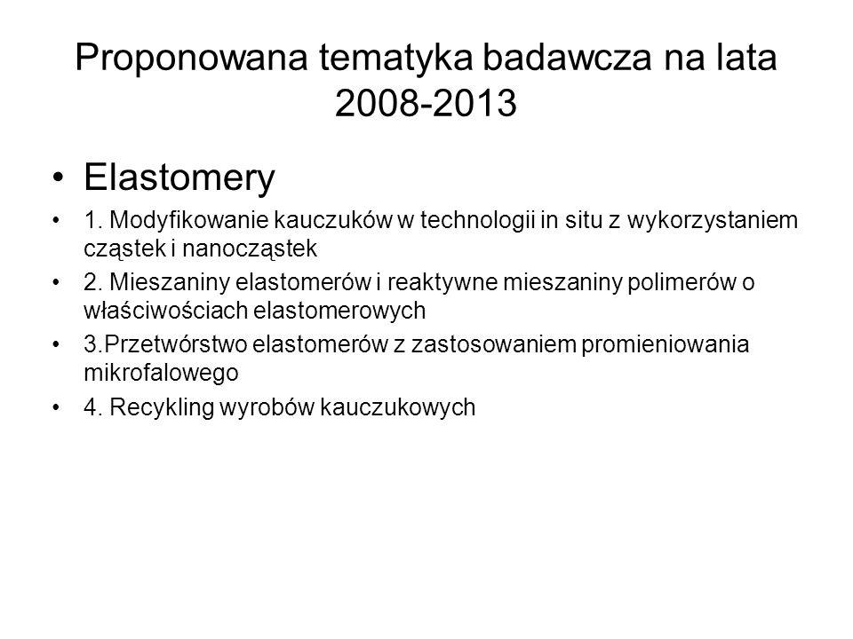 Proponowana tematyka badawcza na lata 2008-2013 Elastomery 1. Modyfikowanie kauczuków w technologii in situ z wykorzystaniem cząstek i nanocząstek 2.