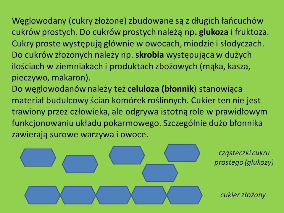 Węglowodany (cukry złożone) zbudowane są z długich łańcuchów cukrów prostych. Do cukrów prostych należą np. glukoza i fruktoza. Cukry proste występują