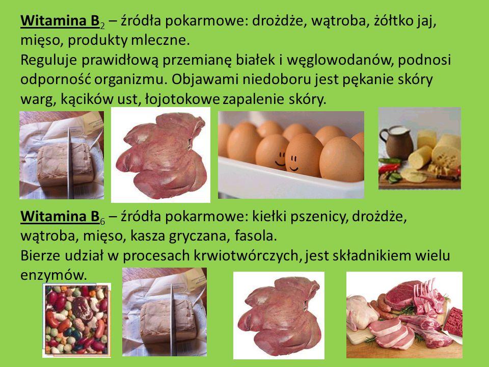 Witamina B 2 – źródła pokarmowe: drożdże, wątroba, żółtko jaj, mięso, produkty mleczne. Reguluje prawidłową przemianę białek i węglowodanów, podnosi o