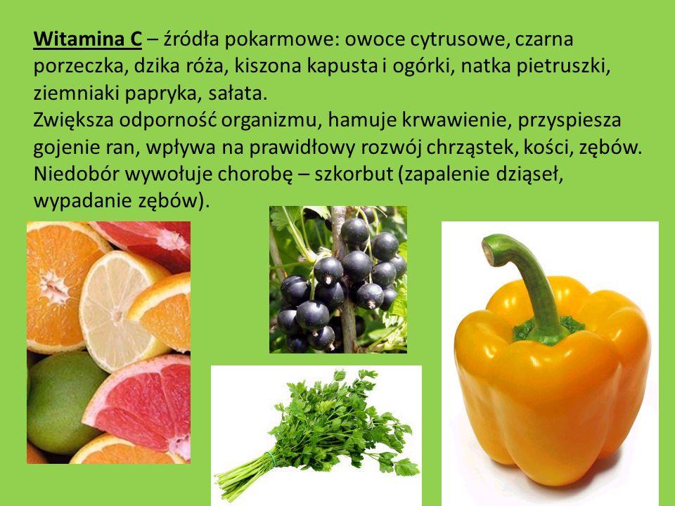 Witamina C – źródła pokarmowe: owoce cytrusowe, czarna porzeczka, dzika róża, kiszona kapusta i ogórki, natka pietruszki, ziemniaki papryka, sałata. Z