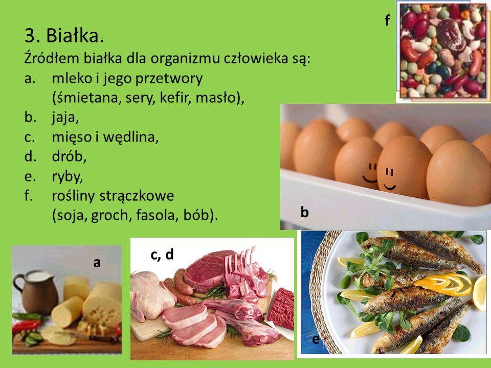 3. Białka. Źródłem białka dla organizmu człowieka są: a.mleko i jego przetwory (śmietana, sery, kefir, masło), b.jaja, c.mięso i wędlina, d.drób, e.ry