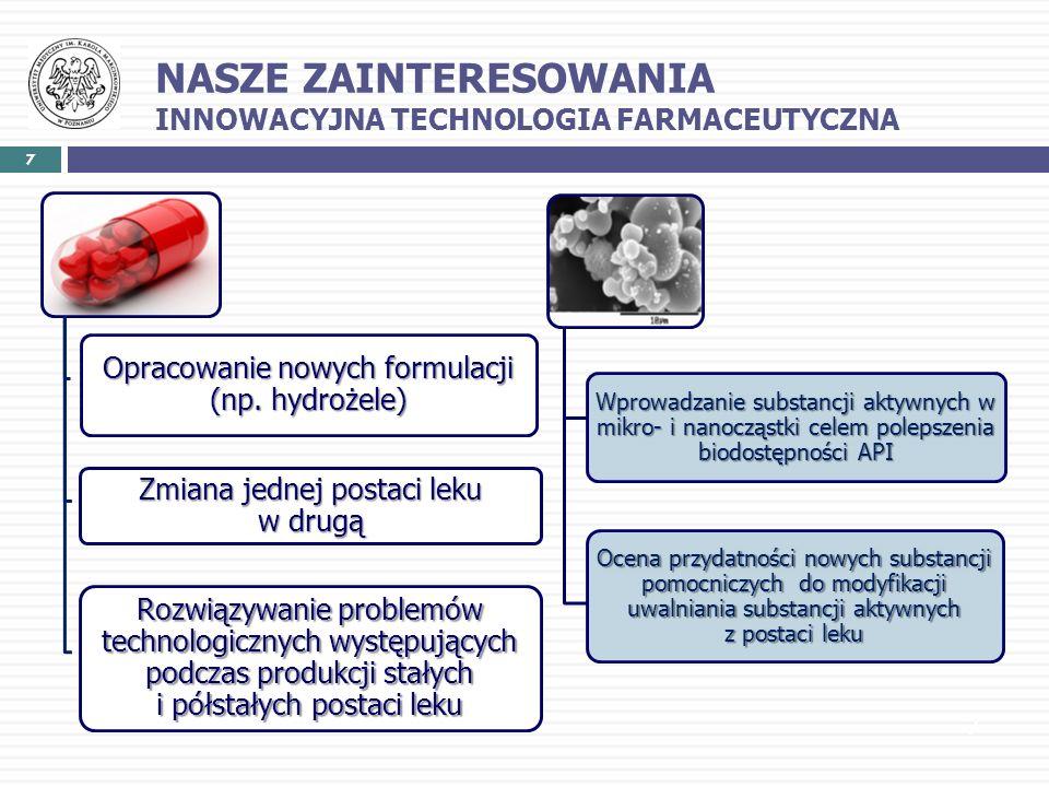 7 7 Opracowanie nowych formulacji (np. hydrożele) Zmiana jednej postaci leku w drugą Rozwiązywanie problemów technologicznych występujących podczas pr