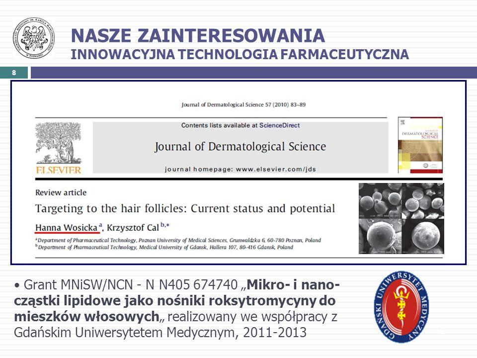 8 8 Grant MNiSW/NCN - N N405 674740 Mikro- i nano- cząstki lipidowe jako nośniki roksytromycyny do mieszków włosowych realizowany we współpracy z Gdań