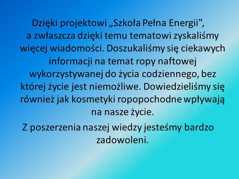 Dzięki projektowi Szkoła Pełna Energii, a zwłaszcza dzięki temu tematowi zyskaliśmy więcej wiadomości. Doszukaliśmy się ciekawych informacji na temat