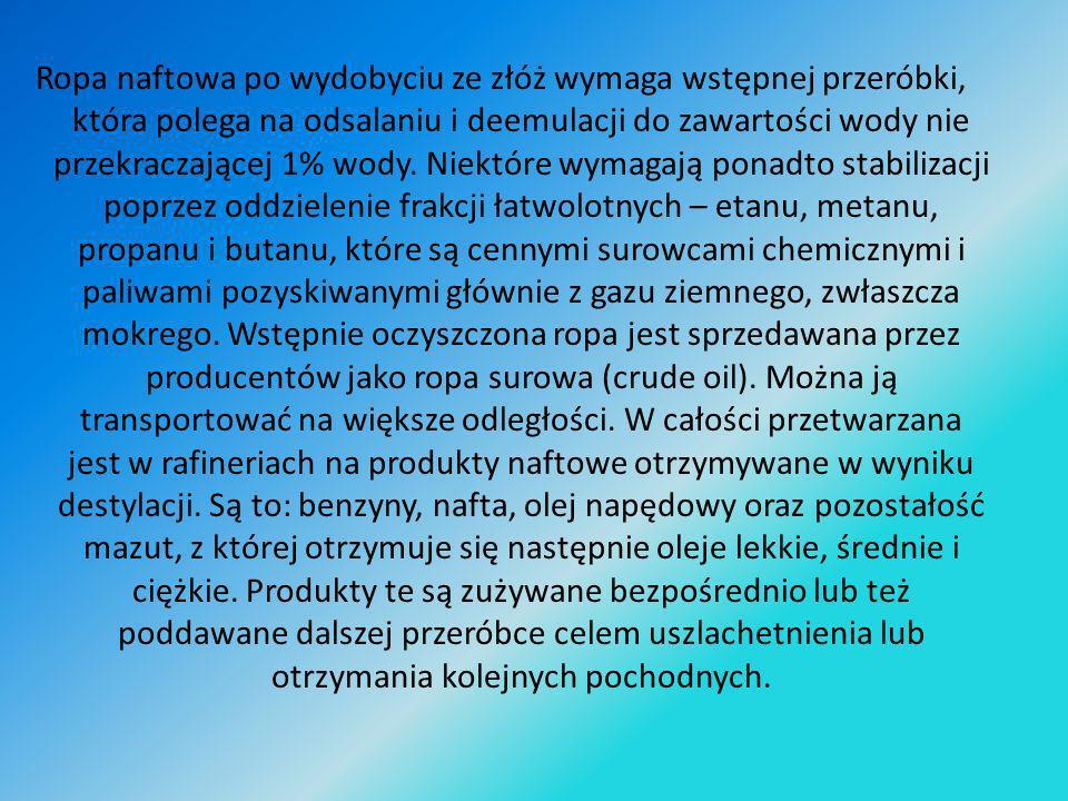 Znaczenie przemysłowe ropa naftowa zyskała po wynalezieniu przez Ignacego Łukaszewicza lampy naftowej w 1852 roku.