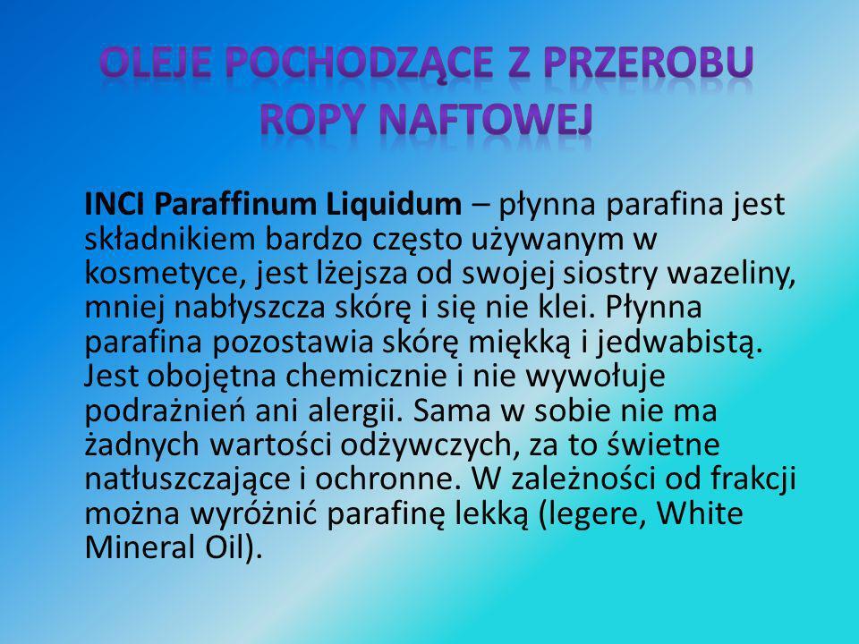 INCI Paraffinum Liquidum – płynna parafina jest składnikiem bardzo często używanym w kosmetyce, jest lżejsza od swojej siostry wazeliny, mniej nabłysz