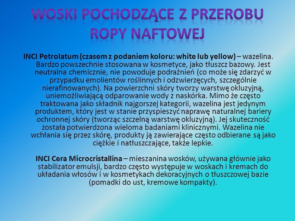 NCI Ozokerite – ozokeryt, wosk ziemny, stosowany podobnie jak woski roślinne celem nadania konsystencji i natłuszczenia, często wykorzystywany w produktach do pielęgnacji (i dekoracji) ust.