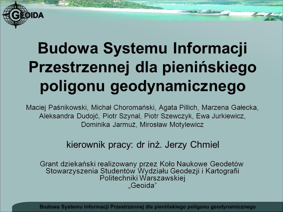 Budowa Systemu Informacji Przestrzennej dla pienińskiego poligonu geodynamicznego Grant dziekański realizowany przez Koło Naukowe Geodetów Stowarzysze