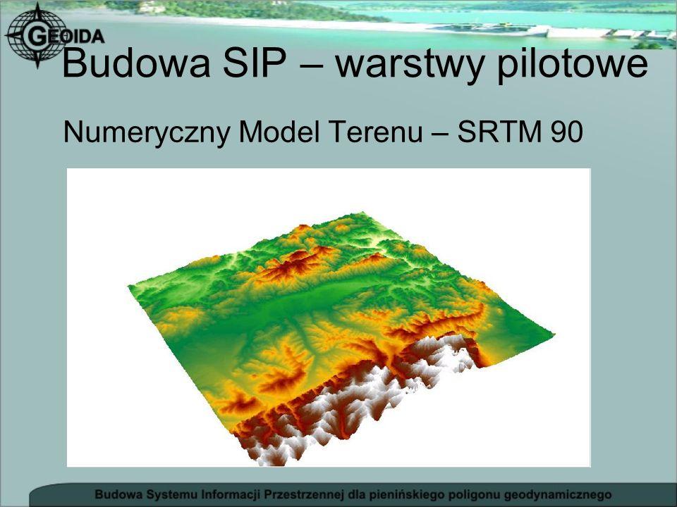Numeryczny Model Terenu – SRTM 90 Budowa SIP – warstwy pilotowe