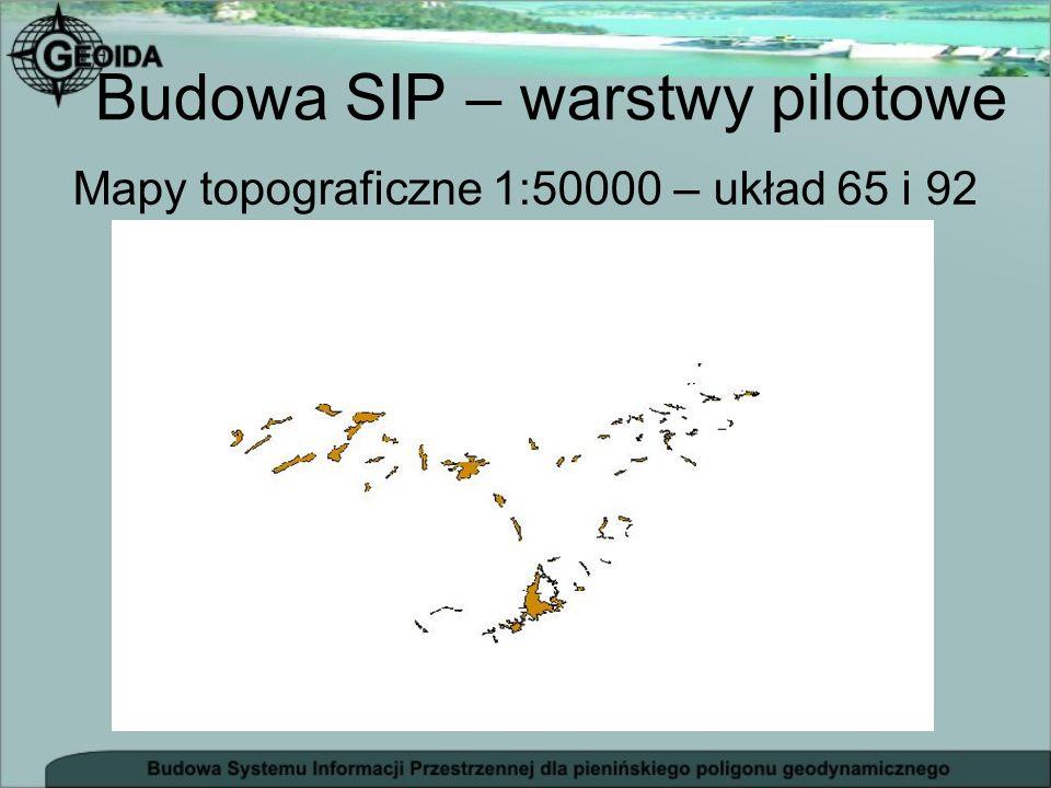 Mapy topograficzne 1:50000 – układ 65 i 92 Budowa SIP – warstwy pilotowe