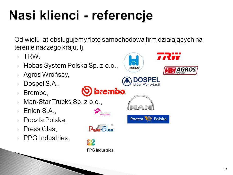 Od wielu lat obsługujemy flotę samochodową firm działających na terenie naszego kraju, tj. TRW, Hobas System Polska Sp. z o.o., Agros Wrońscy, Dospel