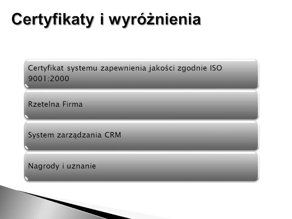 Certyfikat systemu zapewnienia jakości zgodnie ISO 9001:2000 Rzetelna FirmaSystem zarządzania CRMNagrody i uznanie
