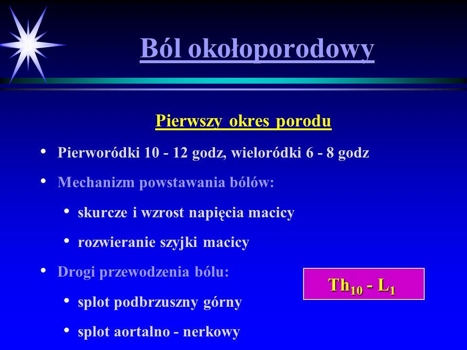 Ból okołoporodowy Pierwszy okres porodu Pierworódki 10 - 12 godz, wieloródki 6 - 8 godz Mechanizm powstawania bólów: skurcze i wzrost napięcia macicy