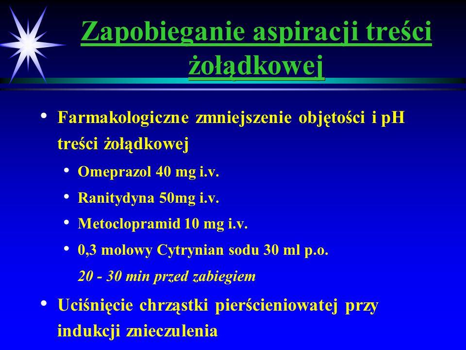 Zapobieganie aspiracji treści żołądkowej Farmakologiczne zmniejszenie objętości i pH treści żołądkowej Omeprazol 40 mg i.v. Ranitydyna 50mg i.v. Metoc