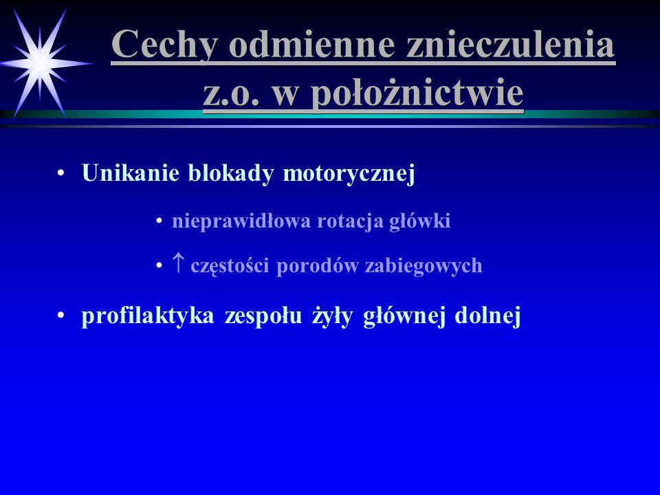 Cechy odmienne znieczulenia z.o. w położnictwie Unikanie blokady motorycznej nieprawidłowa rotacja główki częstości porodów zabiegowych profilaktyka z
