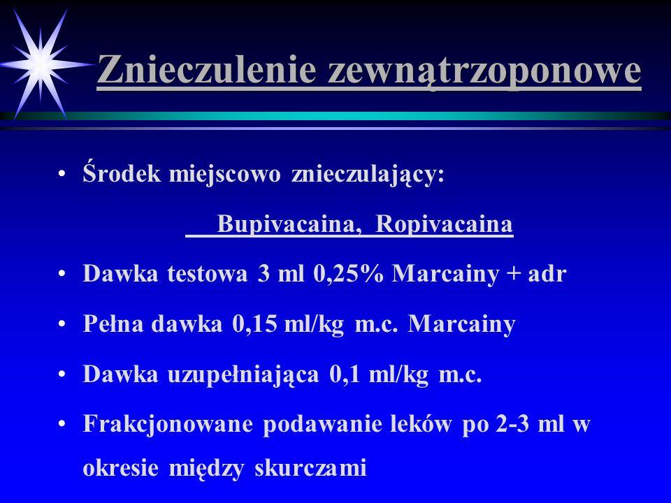 Znieczulenie zewnątrzoponowe Środek miejscowo znieczulający: Bupivacaina, Ropivacaina Dawka testowa 3 ml 0,25% Marcainy + adr Pełna dawka 0,15 ml/kg m