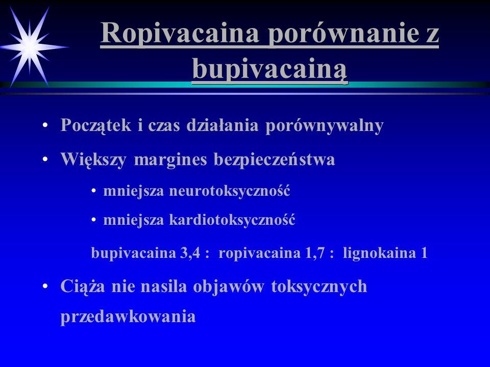Ropivacaina porównanie z bupivacainą Początek i czas działania porównywalny Większy margines bezpieczeństwa mniejsza neurotoksyczność mniejsza kardiot