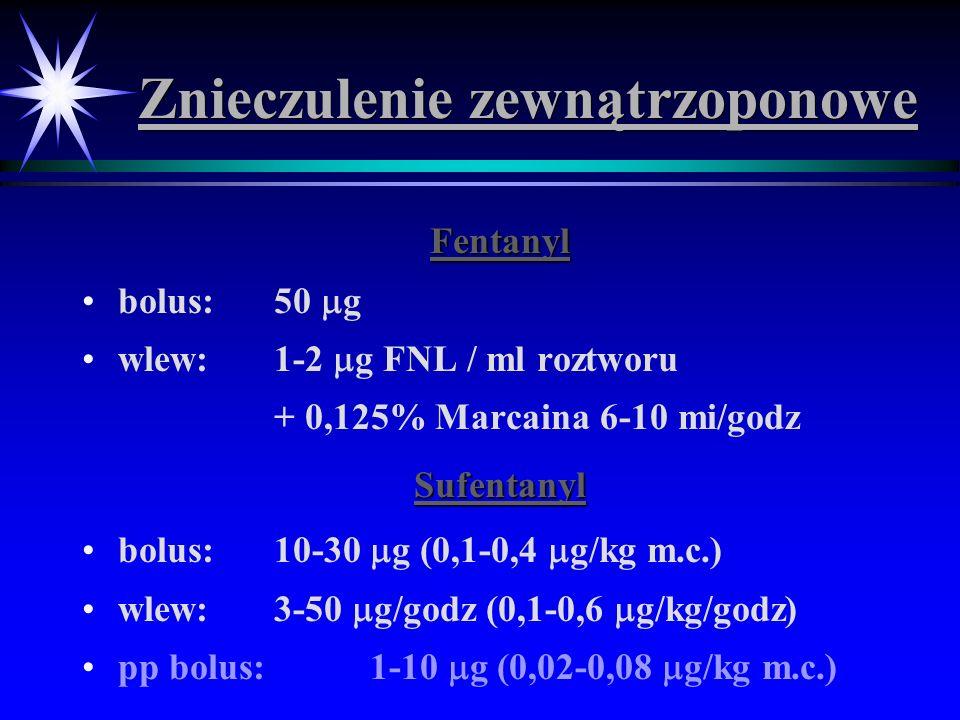 Znieczulenie zewnątrzoponowe Fentanyl bolus: 50 g wlew: 1-2 g FNL / ml roztworu + 0,125% Marcaina 6-10 mi/godzSufentanyl bolus: 10-30 g (0,1-0,4 g/kg
