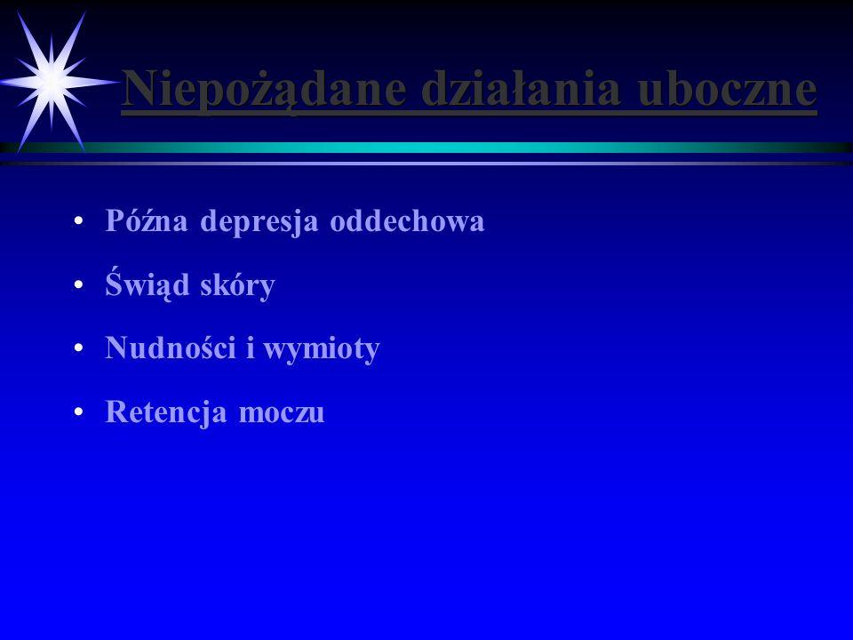 Niepożądane działania uboczne Późna depresja oddechowa Świąd skóry Nudności i wymioty Retencja moczu