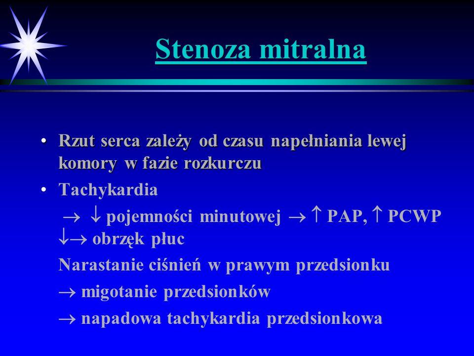Stenoza mitralna Rzut serca zależy od czasu napełniania lewej komory w fazie rozkurczuRzut serca zależy od czasu napełniania lewej komory w fazie rozk