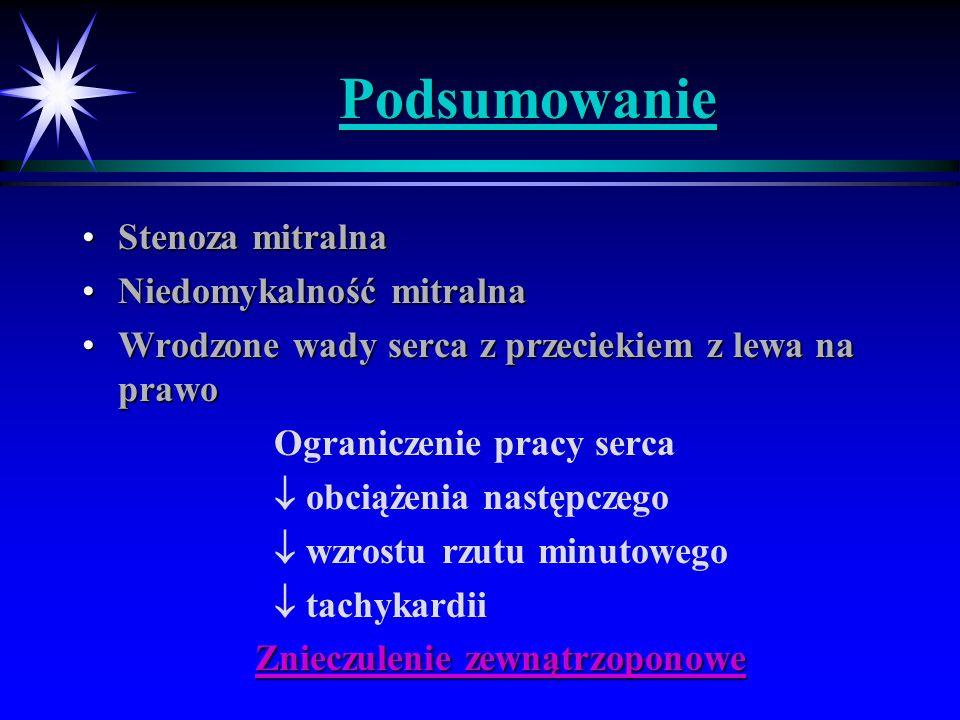 Podsumowanie Stenoza mitralnaStenoza mitralna Niedomykalność mitralnaNiedomykalność mitralna Wrodzone wady serca z przeciekiem z lewa na prawoWrodzone