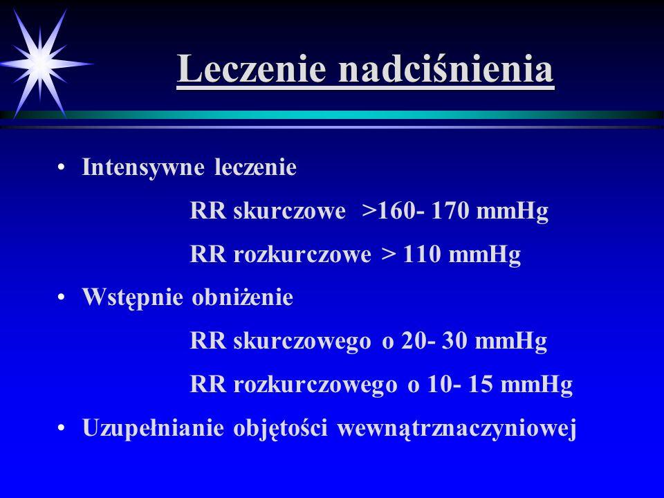 Leczenie nadciśnienia Intensywne leczenie RR skurczowe >160- 170 mmHg RR rozkurczowe > 110 mmHg Wstępnie obniżenie RR skurczowego o 20- 30 mmHg RR roz