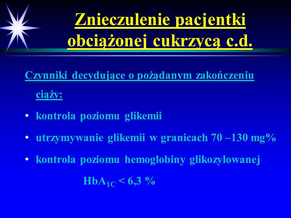Znieczulenie pacjentki obciążonej cukrzycą c.d. Czynniki decydujące o pożądanym zakończeniu ciąży: kontrola poziomu glikemii utrzymywanie glikemii w g