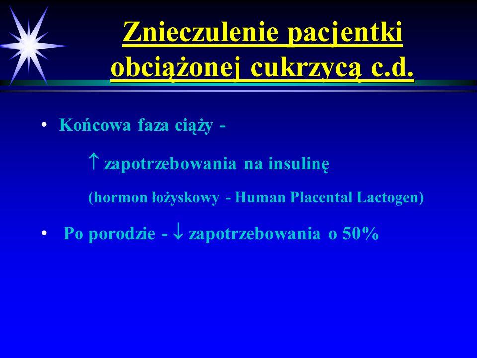 Znieczulenie pacjentki obciążonej cukrzycą c.d. Końcowa faza ciąży - zapotrzebowania na insulinę (hormon łożyskowy - Human Placental Lactogen) Po poro