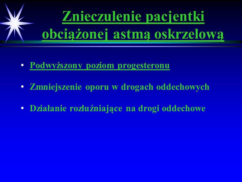Znieczulenie pacjentki obciążonej astmą oskrzelową Podwyższony poziom progesteronu Zmniejszenie oporu w drogach oddechowych Działanie rozluźniające na
