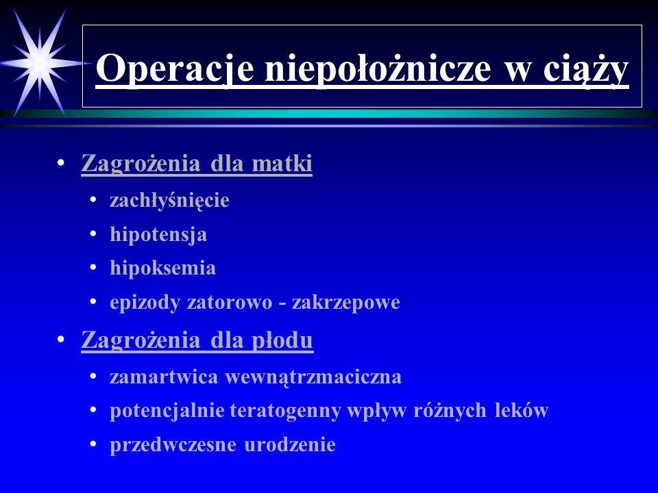 Operacje niepołożnicze w ciąży Zagrożenia dla matki zachłyśnięcie hipotensja hipoksemia epizody zatorowo - zakrzepowe Zagrożenia dla płodu zamartwica