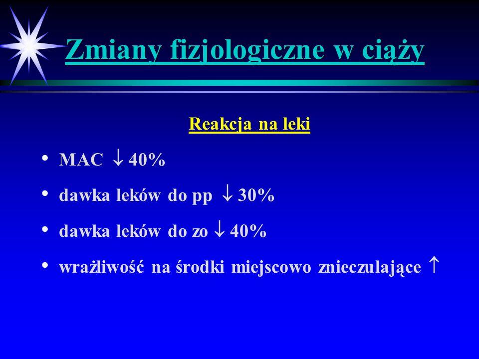 Znieczulenie pacjentki obciążonej otyłością Wskaźnik masy ciała > 30 => otyłość Wskaźnik masy ciała > 35 => chorobliwa otyłość Trudności z ułożeniem w określonej pozycji Zwiększona częstość nadciśnienia, cukrzycy Pogłębiona redukcja FRC