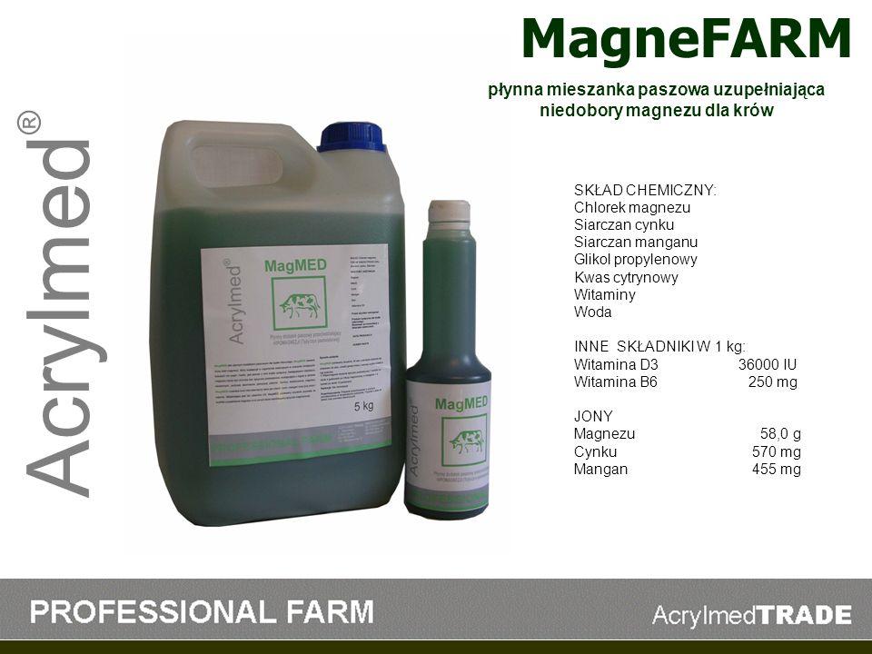 Acrylmed ® MagneFARM SKŁAD CHEMICZNY: Chlorek magnezu Siarczan cynku Siarczan manganu Glikol propylenowy Kwas cytrynowy Witaminy Woda INNE SKŁADNIKI W
