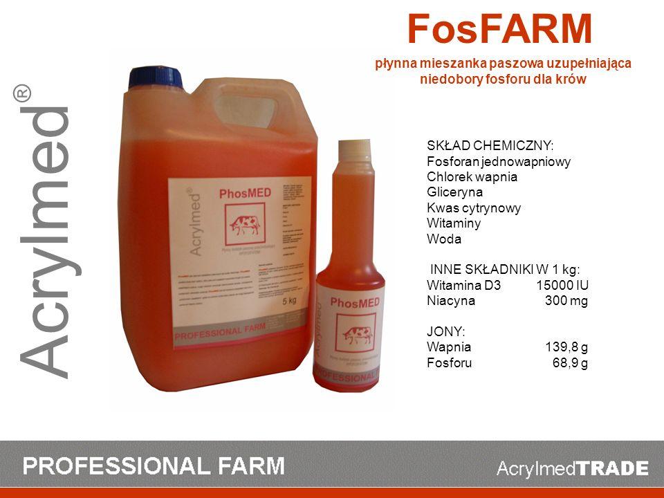 Acrylmed ® SKŁAD CHEMICZNY: Fosforan jednowapniowy Chlorek wapnia Gliceryna Kwas cytrynowy Witaminy Woda INNE SKŁADNIKI W 1 kg: Witamina D3 15000 IU N