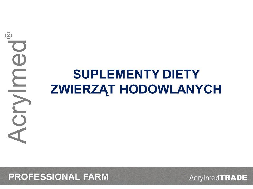 Acrylmed ® WyszczególnienieCaPMgNa 10 kg mleka49311915 15 kg mleka66412218 20 kg mleka82512522 25 kg mleka98612925 30 kg mleka114713228 35 kg mleka130803531 40 kg mleka144893835 Zapotrzebowanie składników mineralnych dla krowy mlecznej o masie 600 kg - potrzeby bytowe + produkcja mleka o zaw.